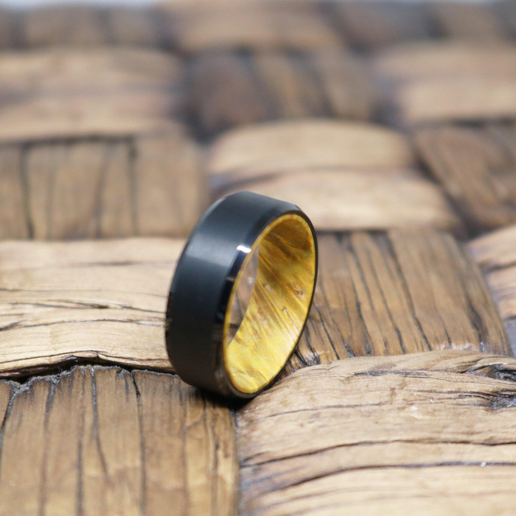AIRBENDER Men's Tungsten Yellow Box Elder Wood Interior Ring with Beveled Edges Brushed Finish - 8MM - Rings - Aydins_Jewelry