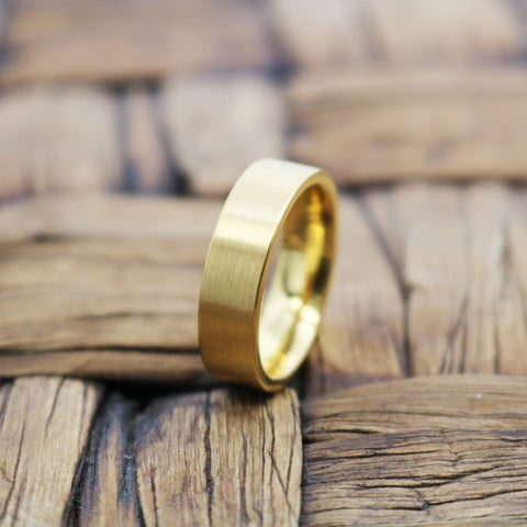 Image of Flat Yellow Gold Tungsten Couple Matching Wedding Ring Brushed Finish - 4MM - 8MM - Rings - Aydins_Jewelry