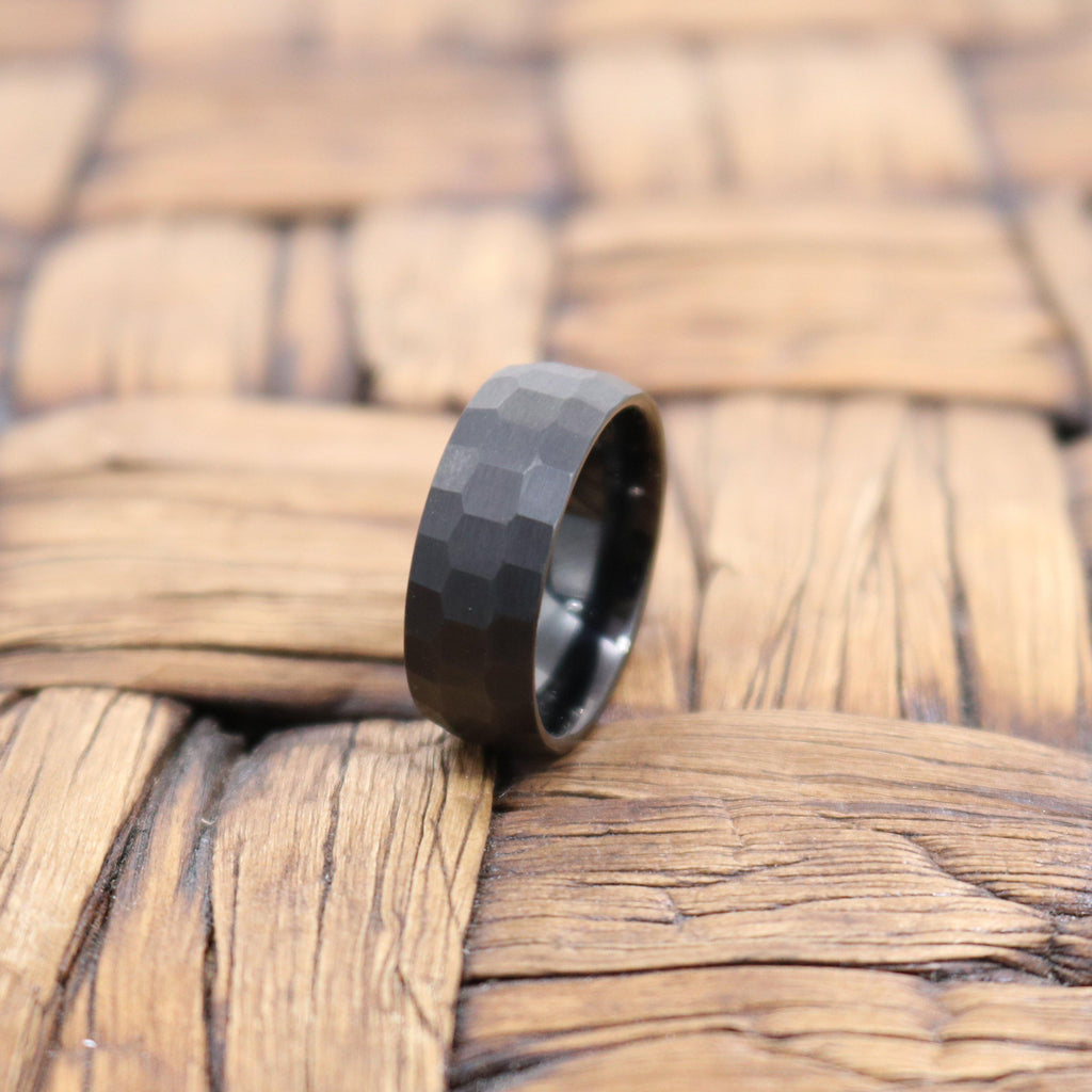 Men's Black Hammered Tungsten Wedding Band with Brushed Finish & Domed Edges - 8MM
