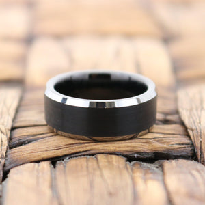 Black Brushed Tungsten Couple Matching Ring with Silver Beveled Polished Edges - 4MM to 10MM - Rings - Aydins_Jewelry
