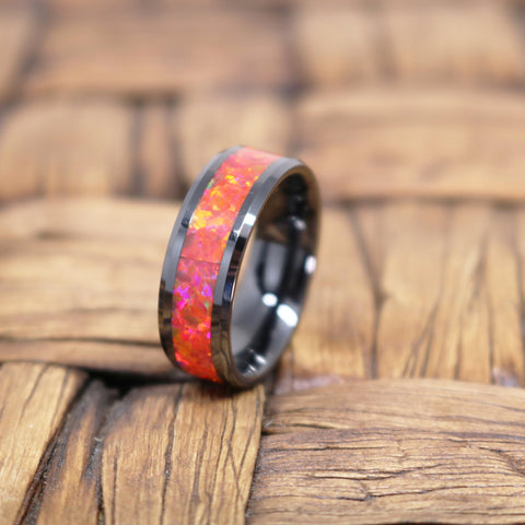 Image of FELIX Black Ceramic Ring Polished Finish With Red Opal Inlay Beveled Edges - Rings - Aydins_Jewelry