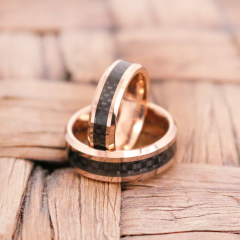 Rose Gold Tungsten Couple Wedding Matching Band with Black Carbon Fiber Inlay