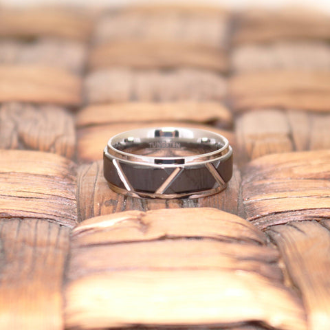 Image of Men's Silver Tungsten Wedding Band with Black Trapezoid Design Center & Step Edges - 8MM