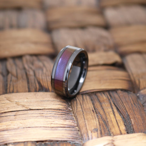 Image of CHANCE Black Ceramic Ring with Blue & Purple Color Changing Inlay - 6mm - 8mm - 10mm - Rings - Aydins_Jewelry