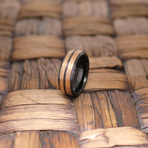 Image of Men's Tungsten Wedding Band with Rose Gold Hammered Center & Black Groove