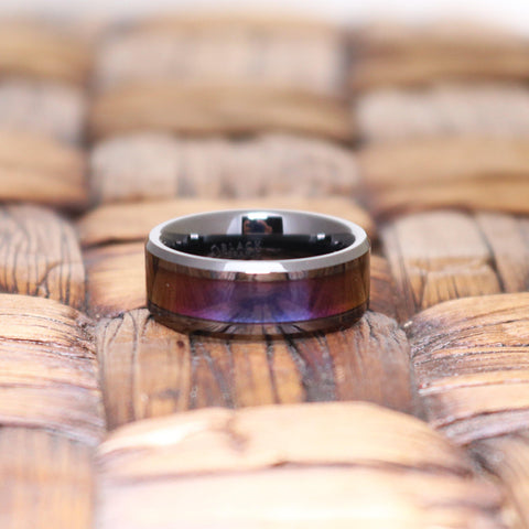 CHANCE Black Ceramic Ring with Blue & Purple Color Changing Inlay - 6mm - 8mm - 10mm - Rings - Aydins_Jewelry