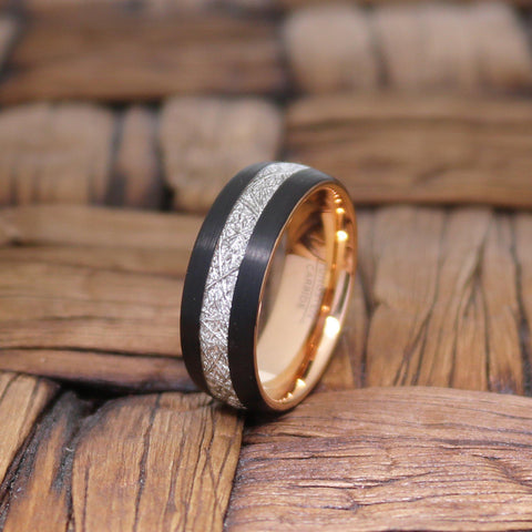 Image of Rose Gold & Black with Meteorite Inlay Tungsten Mens Ring 8mm Tungsten Carbide Wedding Band