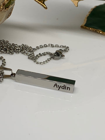 Image of 3D Personalized Bar Necklace Silver - Necklace - Aydins_Jewelry