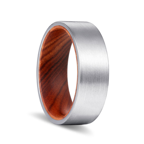 Silver Flat Tungsten Brushed Finish with Iron Wood Inlay Ring