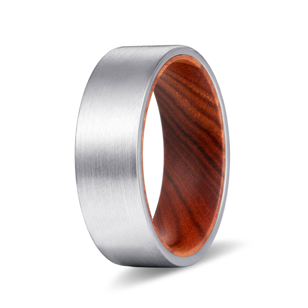COVE Silver Flat Tungsten Brushed Finish with Iron Wood Inlay Ring