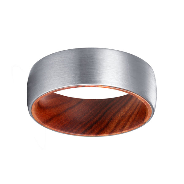 Silver Tungsten Domed Brushed Finish with Iron Wood Sleeve Inlay Ring