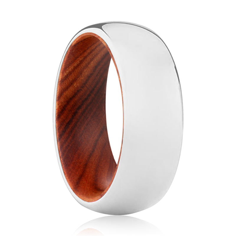 INVINCIBLE Tungsten Silver Shiny with a Comfort-Fit Iron Wood Sleeve Inlay Ring