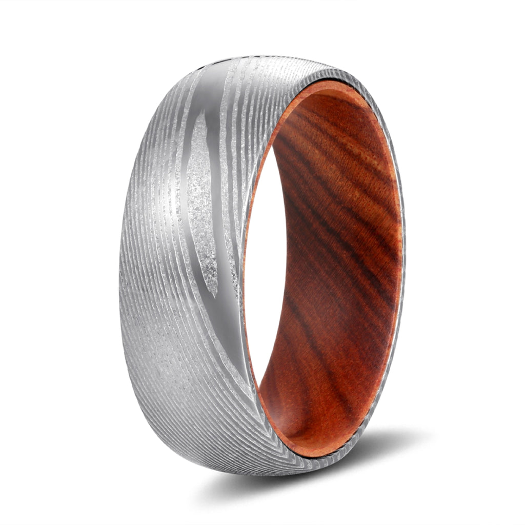 Genuine Damascus Steel Silver Ring with Iron Wood Sleeve Inlay