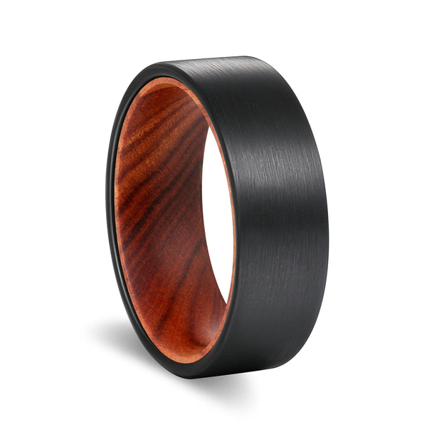 Flat Black Tungsten Brushed Finish Beveled Edge with a Comfort-Fit Iron Wood Sleeve Inlay