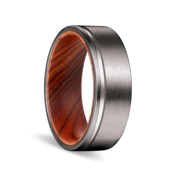Gunmetal Flat Grooved Ring with Iron Wood Sleeve Inlay