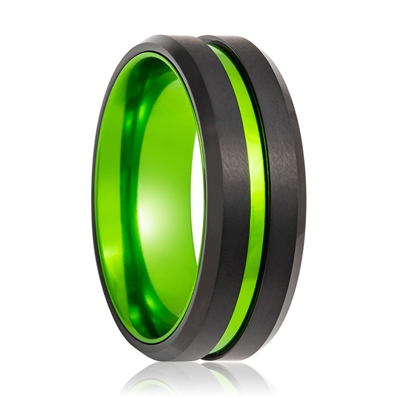 Black Ring with Green Groove Center and Green Anodized Interior Sleeve