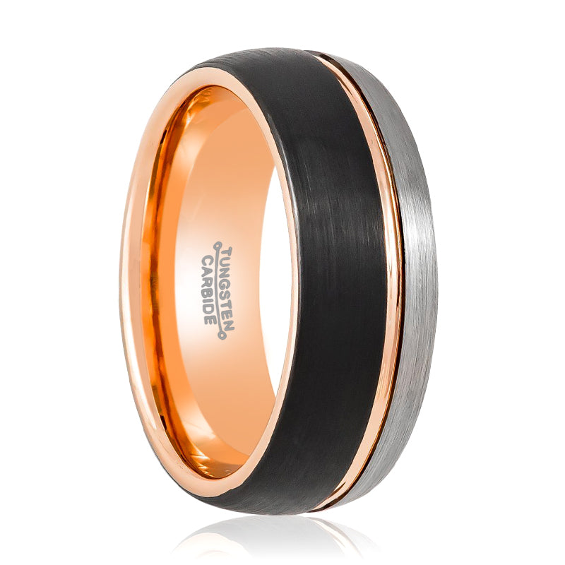 Three Tone Natural, Rose Gold & Black  Brushed Grooved Center at the Ring