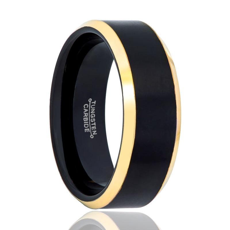 Black Ring & Yellow Gold Brushed Center Beveled Edge at the Ring.