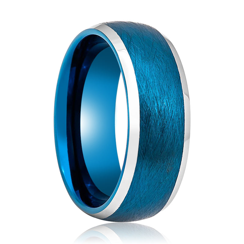 Tungsten Carbide Domed Blue Band with Brushed Finish Ring