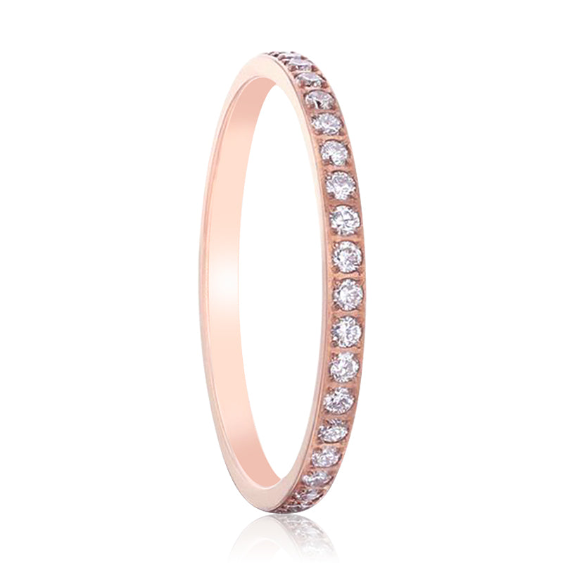 LILLIAN Flat Polished Rose Gold Plated Titanium Women's Wedding Ring With Small Lab-Created White Diamonds Setting - 2mm