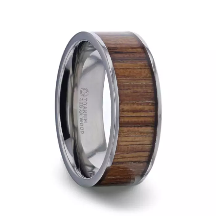 LAMAR Zebra wood Inlaid Flat Titanium Men's Wedding Band With Flat Polished Edges - 7mm