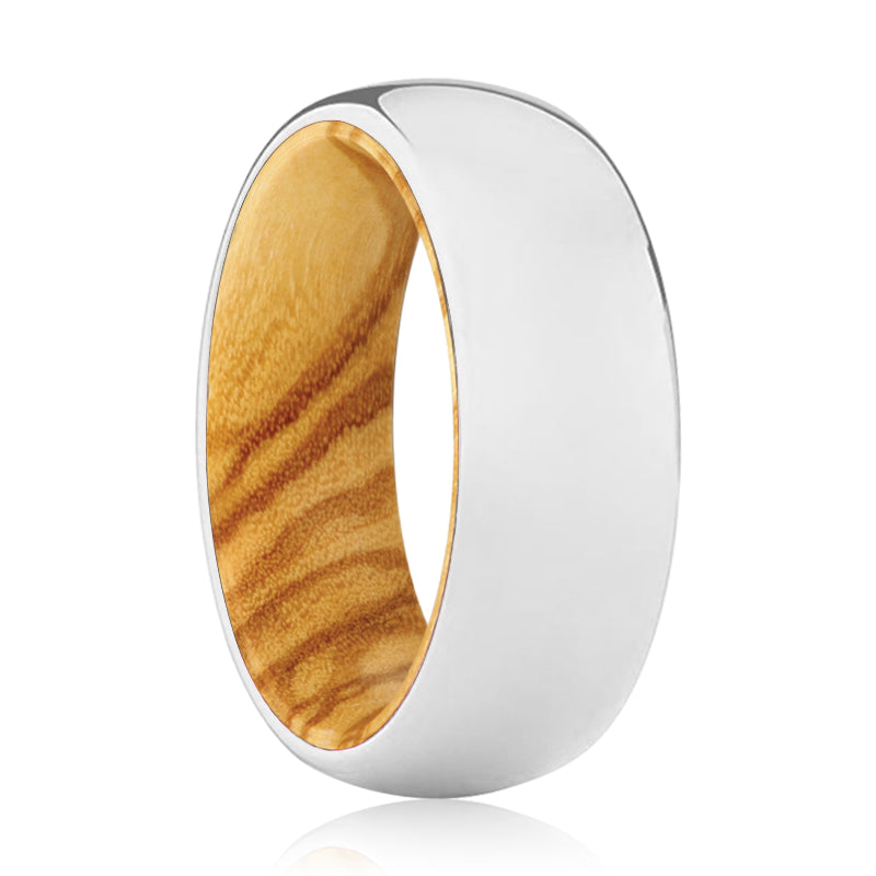 MIGHTY Tungsten Silver Shiny with a Comfort-Fit Olive Wood Sleeve Inlay Ring