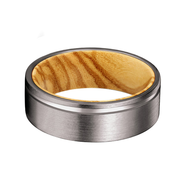 Gunmetal Flat Grooved Ring with Olive Wood Sleeve Inlay