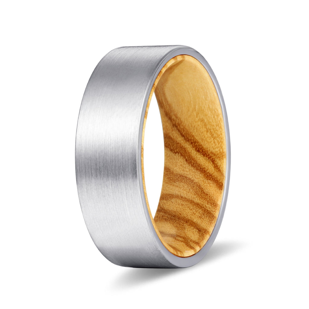 Silver Flat Tungsten Brushed Finish with Olive Wood Inlay Ring
