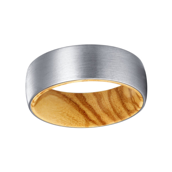 Silver Tungsten Domed Brushed Finish with Olive Wood Sleeve Inlay Ring