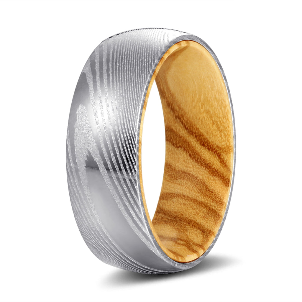 Genuine Damascus Steel Silver Ring with Olive Wood Sleeve Inlay