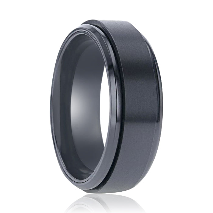 PHANTOM Black Titanium Brushed Center Spinner Men's Wedding Ring With Spinning Polished Base - 8mm