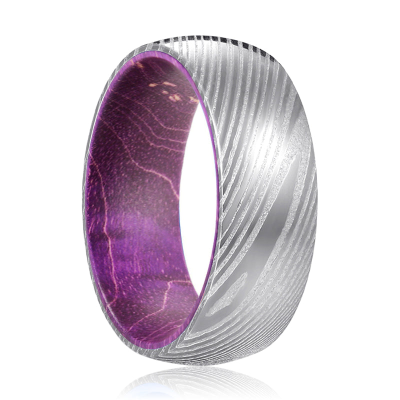 OSTRUM Genuine Damascus Steel Silver Ring with Purple Wood Sleeve Inlay