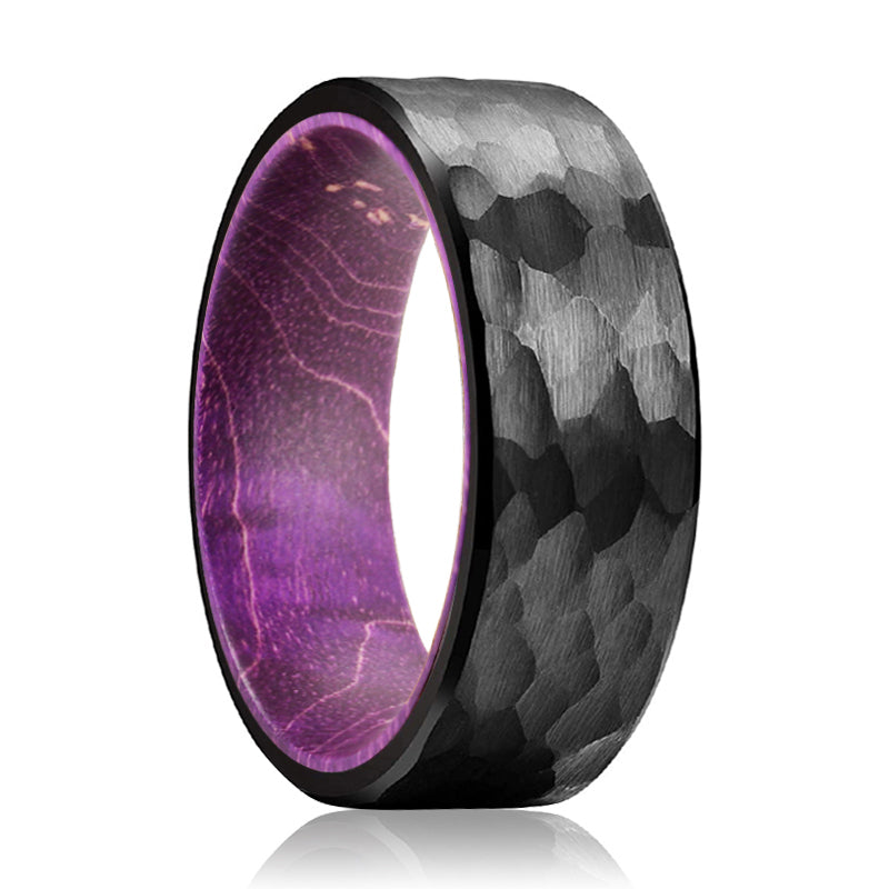 MAUVE Black Hammered Ring with a Comfort-Fit Purple Wood Sleeve Inlay Ring
