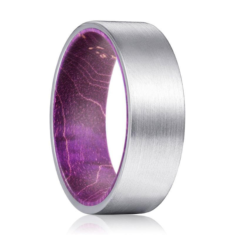 LILAVO Silver Flat Tungsten Brushed Finish with Purple Wood Inlay Ring