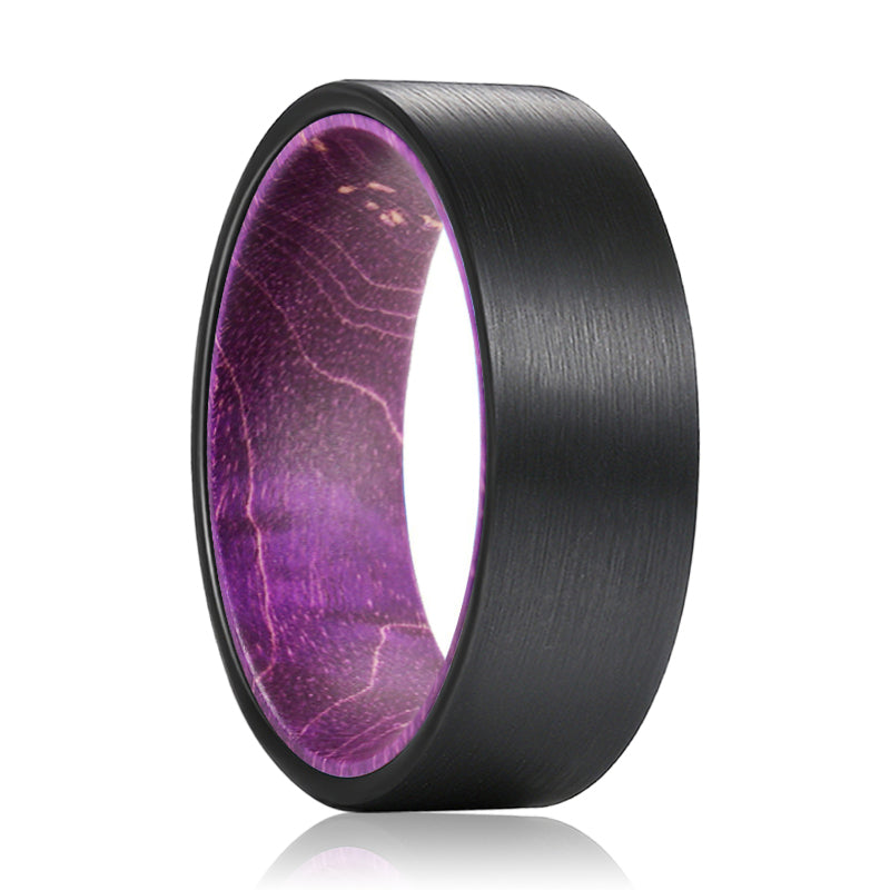 ROXO Flat Black Tungsten Brushed Finish Beveled Edge with a Comfort-Fit Purple Wood Sleeve Inlay