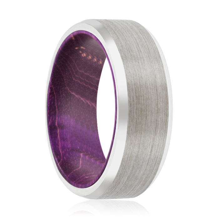 CORC Tungsten Silver Beveled with a Comfort-Fit Purple Wood Sleeve Inlay Ring