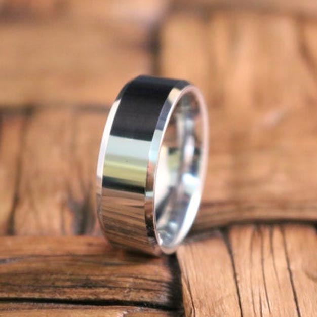 High Polished Silver Tungsten Couple Matching Wedding Band with Beveled Edges - 6MM - 8MM - Rings - Aydins_Jewelry