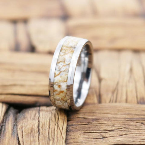 STOMPY White Dinosaur Bone Inlay Tungsten Couple Matching Wedding Band