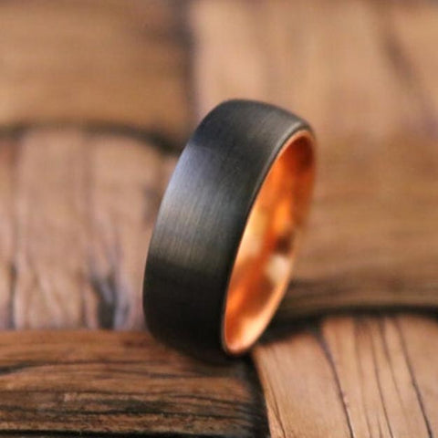 Image of JAGUAR Atomic Orange Black Tungsten Men's Wedding Band With Domed Edge