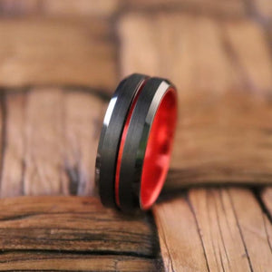 BUGATTI Scarlet Red and Black Comfort Fit Tungsten Men's Wedding Ring