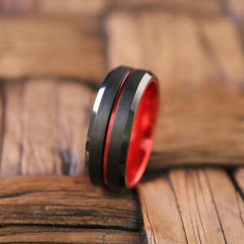 Image of BUGATTI Scarlet Red and Black Comfort Fit Tungsten Men's Wedding Ring