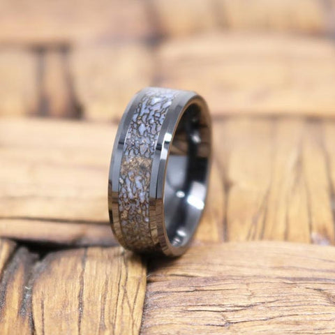 Image of AJAX Black Ceramic Couple Wedding Band Blue Dinosaur Bone Inlay Polished Finish