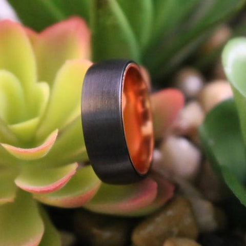 JAGUAR Atomic Orange Black Tungsten Men's Wedding Band With Domed Edge