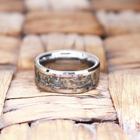 Image of SPARTAN Beveled Tungsten Matching Wedding Ring with Blue Dino Bone Inlay