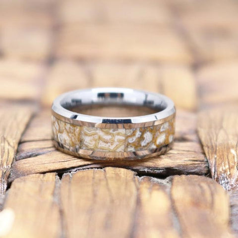 Image of STOMPY White Dinosaur Bone Inlay Tungsten Couple Matching Wedding Band