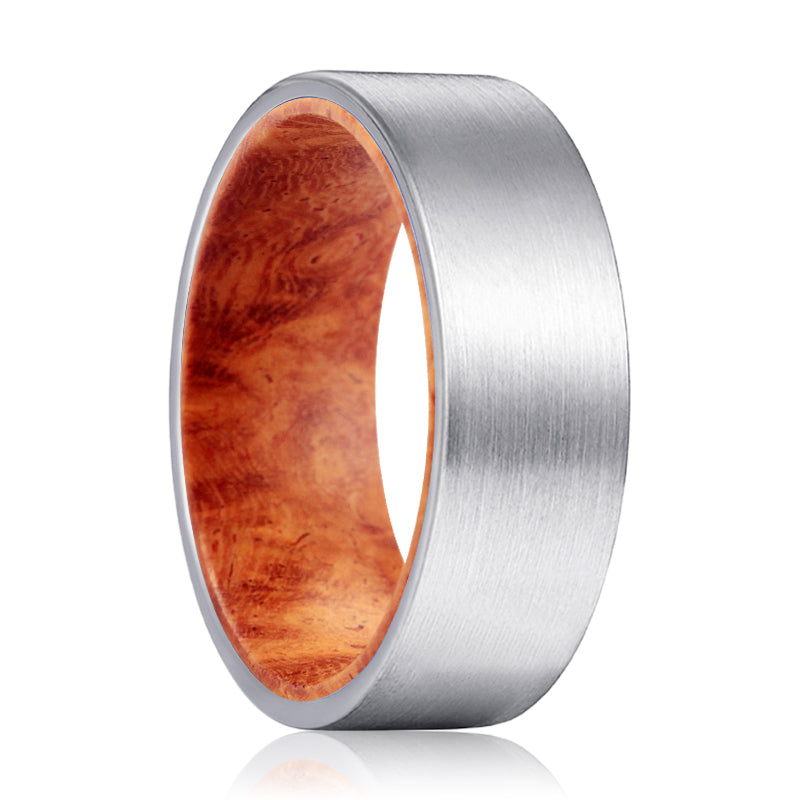 KAPILA Silver Flat Tungsten Brushed Finish with Red Burl Wood Inlay Ring