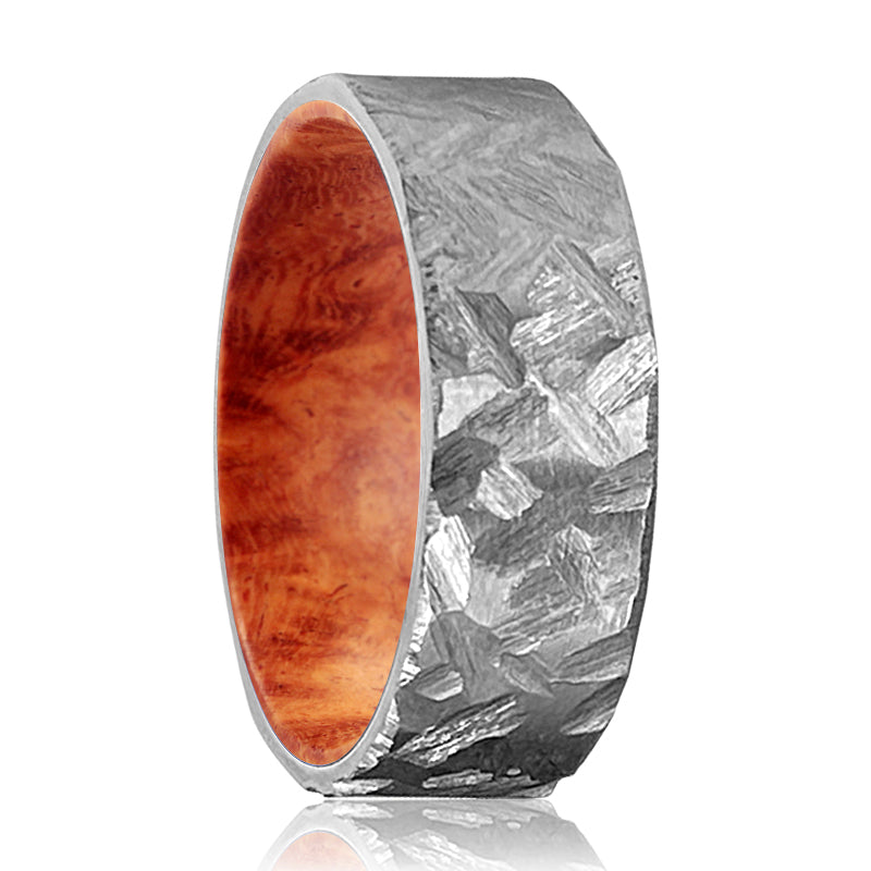 HARKIN Silver Hammered Titanium Ring with a Comfort-Fit Red Burl Wood Sleeve Inlay Ring