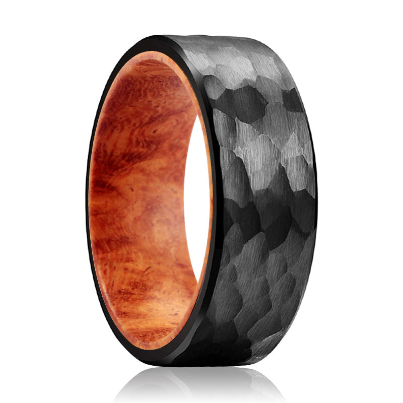 GILROY Black Hammered Ring with a Comfort-Fit Red Burl Wood Sleeve Inlay Ring