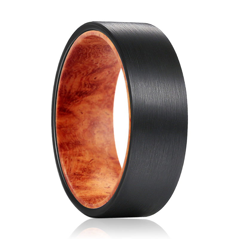 MARA Flat Black Tungsten Brushed Finish Beveled Edge with a Comfort-Fit Red Burl Wood Sleeve Inlay