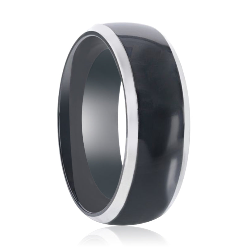 SALEEN Domed Polished Finish Black Titanium Men's Wedding Ring With Beveled Polished Edges - 8mm